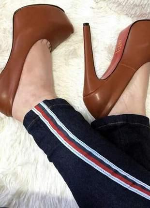 Sapatos femininos scarpins plataforma salto 15
