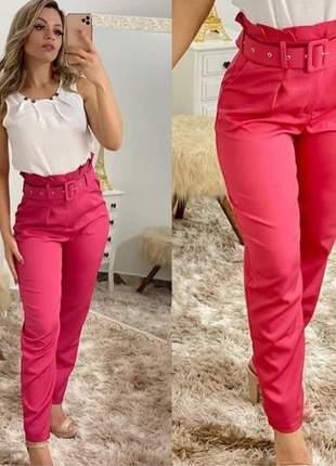 Calça clochard feminina cintura alta com cinto social