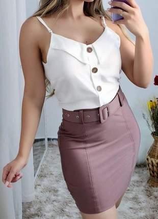 Saia cirré clochard cintura alta feminina