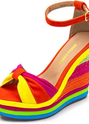 Sandália anabela salto alto camurça laranja salto sisal colorido