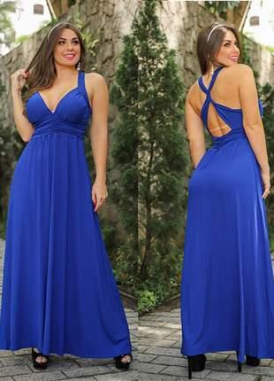 Vestido longo cecília azul