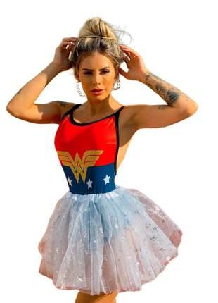 Body super herois super girl festa fantasia carnaval mulher maravilha azul