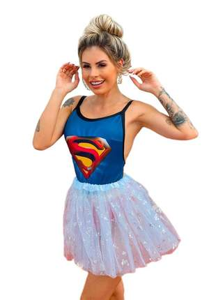 Body super herois super girl festa fantasia carnaval super gil e batgirls