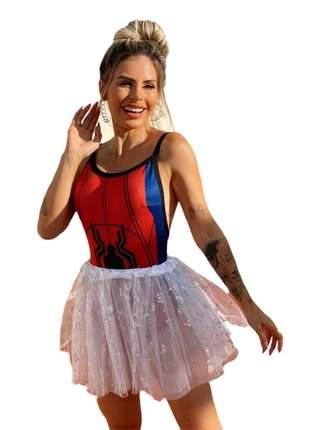 Body super herois super girl festa fantasia carnaval mulher aranha