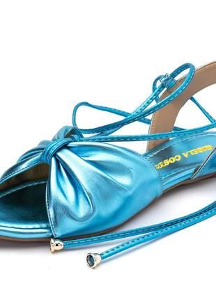 Sandália rasteira bico fino amarrar na perna azul metalizada