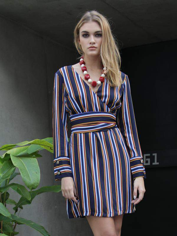 Adriana Darwish / Vestido manga longa listrado envelope azul