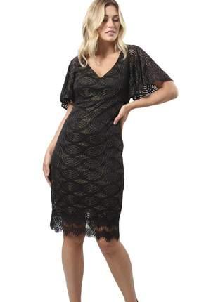 Vestido renda fio de lurex- 18059