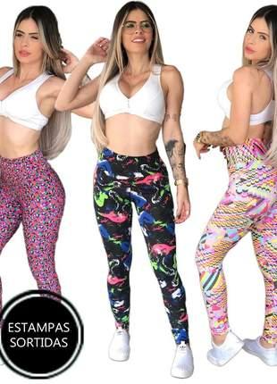 10 calça leg cós alto legging feminina crossfit ref 591a clsb