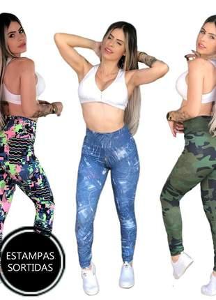 5 calça leg cós alto legging feminina crossfit ref 591a clsb