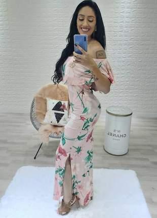 Vestido longo ciganinha fendas laterais coleção 2020
