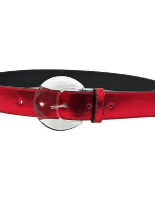 Cinto metalizado sintético vermelho