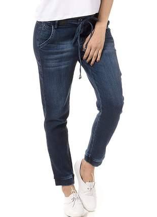 Calça jeans jogger cintura alta com elastano