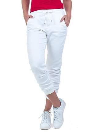 Calça bloom jeans jogger com elastano cor branca