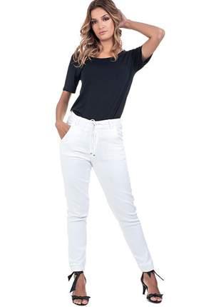 Calça bloom jeans jogger com lycra cintura alta branca