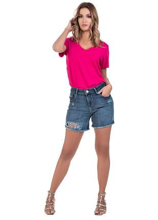 Short bloom jeans boyfriend destroyed com elastano