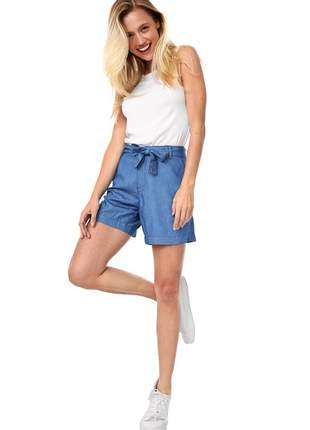 Short bloom jeans cintura alta com cinto