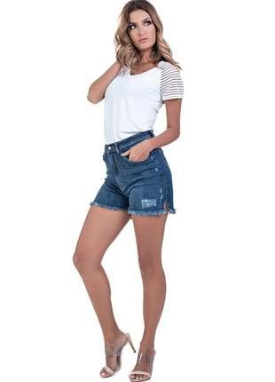Short bloom jeans cintura alta hot pants