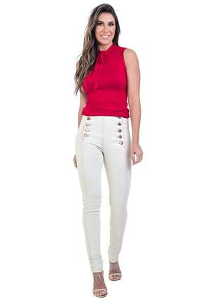 Calça bloom jeans skinny cintura alta com elastano cor areia