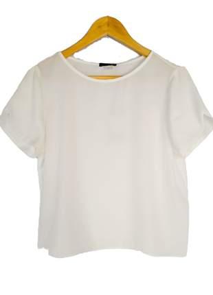 Blusa social feminina manga curta básica lisa crepe de seda