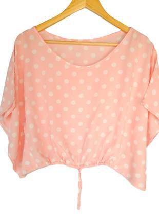 Blusinha cropped manga curta roupas femininas blusa viscose