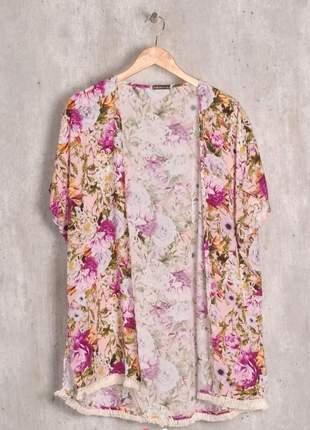 Kimono floral plus size