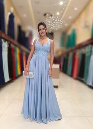 Vestido de festa azul serenity longo madrinha mãe noivos formandas