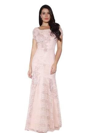 Vestido longo sereia renda bordado pedraria moda fasciniu's