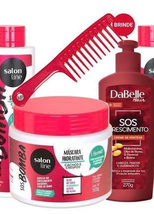 Kit cabelos cacheados ou crespos salon line liberado + crescimento + hidratação 06 itens