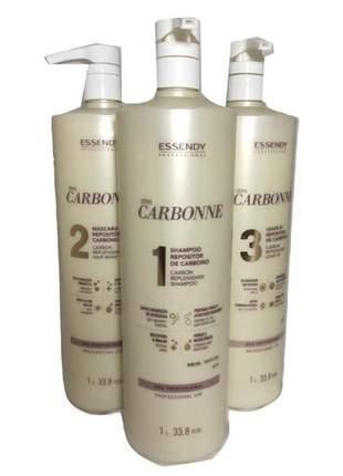 Carbonne essendy professional litro completo shampoo + máscara + leave in 03 un