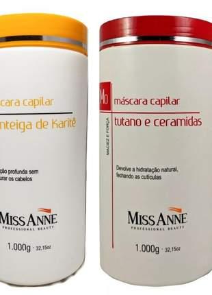 Miss anne mascara capilar manteiga de karite + tutano e ceramidas 1kg cada 02un