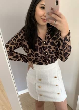 Saia tweed com botões dourados cintura alta alfaiatria