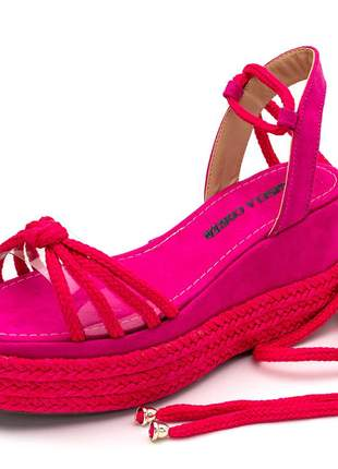 Sandália feminina salto médio rosa pink amarrar na perna