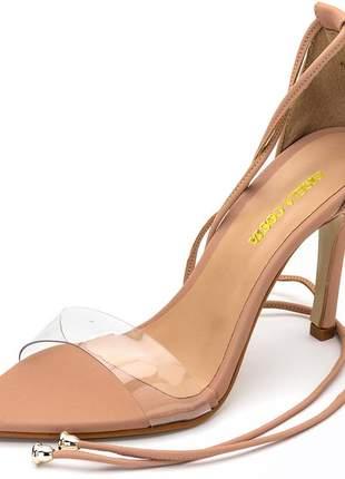 Sandália social nude bico fino tira transparente amarrar na perna