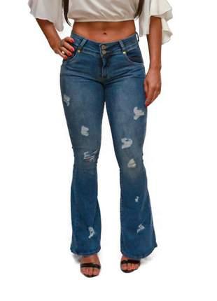 Calça jeans flare destroyed r.i.19