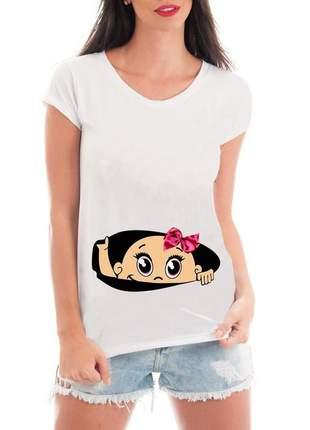 Camiseta gestante blusa mamae bebe espiando menina divertida