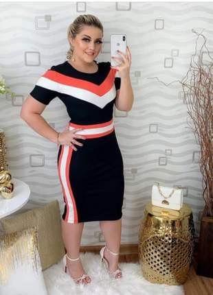 Vestido midi moda evangélica colorido ref 621