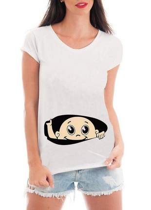 Camiseta gestante bebe raio x espiando blusa mãe divertida