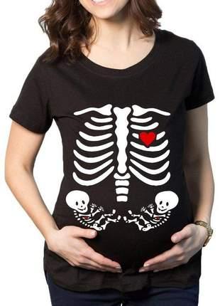 Camiseta divertida gestante raio x gêmeos blusa gravida mãe