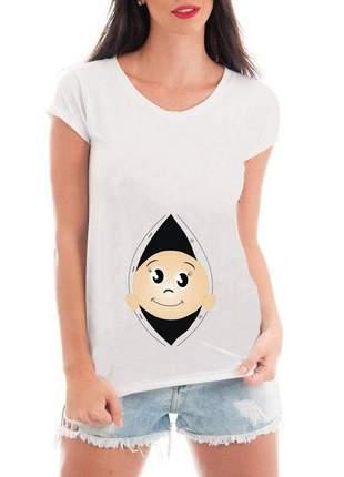 Camiseta divertida bebe espiando gravida blusa mãe gestante