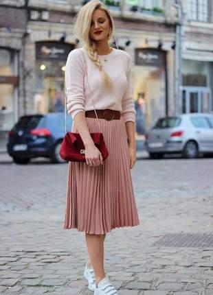 Saia midi plissada rosa rose escuro