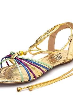 Sandália rasteira aberta tiras em croco dourado e tiras metalizadas
