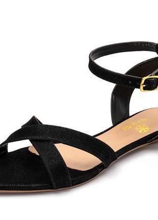 Sandália rasteira aberta tiras em nobucado preto