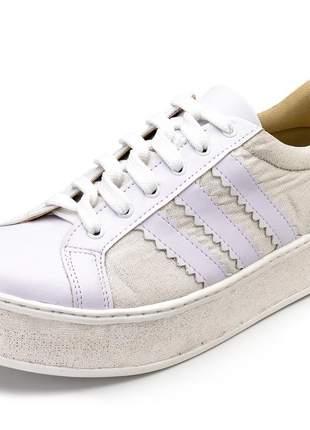 Tênis casual feminino branco detalhe em glitter branco