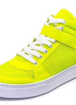 Tênis cano alto feminino amarelo neon detalhe amarelo neon