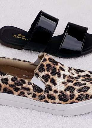 Kit tênis slip on iate animal print flatform + rasteira preta slide