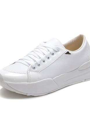 Tênis casual slip on esportivo caminhada sapatênis branco