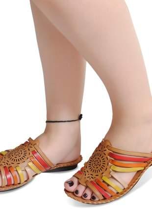 Sandália rasteirinha de couro confortável exclusiva