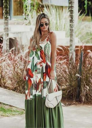 Vestido longo bicolor estampa folhas e folhagens tecido ryon.