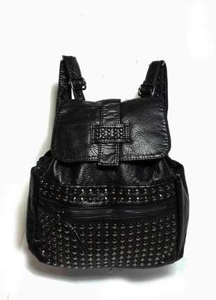 Bolsa bag mochila cissa preta - bolsa feminina em couro ecológico, tipo mochila