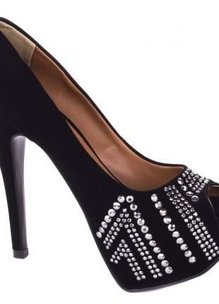 Sapato feminino meia pata alta salto fino n° 37